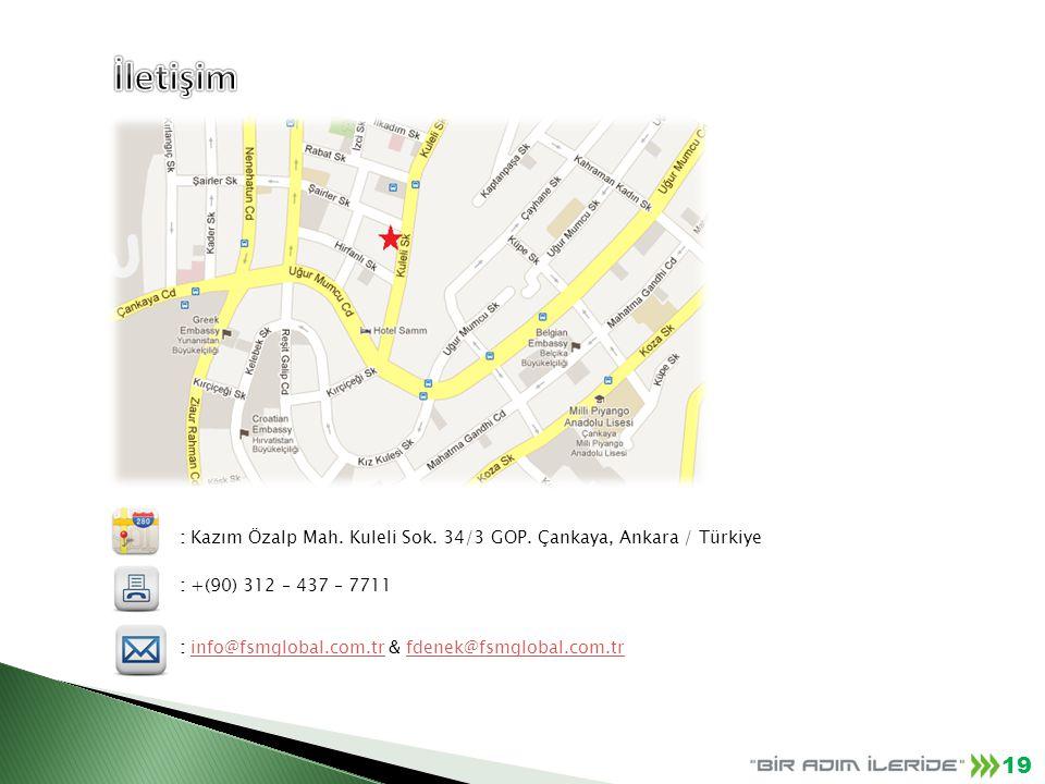 : Kazım Özalp Mah. Kuleli Sok. 34/3 GOP. Çankaya, Ankara / Türkiye : +(90) 312 – 437 – 7711 : info@fsmglobal.com.tr & fdenek@fsmglobal.com.trinfo@fsmg