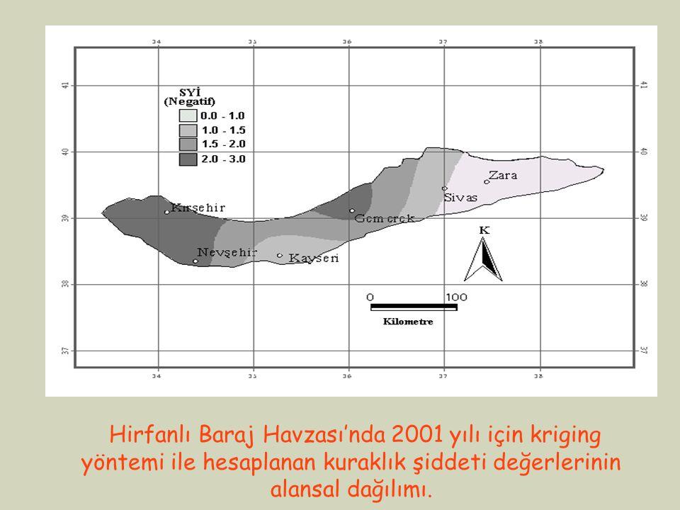 Hirfanlı Baraj Havzası'nda 2001 yılı için kriging yöntemi ile hesaplanan kuraklık şiddeti değerlerinin alansal dağılımı.