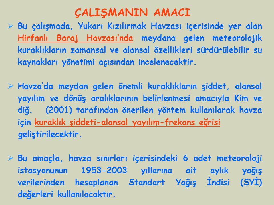 Yağış İstasyonları 1-Kırşehir 2-Nevşehir 3-Kayseri 4-Gemerek 5-Sivas 6-Zara (42 o K, 32.5 o D) (38 o K, 39 o D) KARADENİZ Hirfanlı Baraj Havzası (~26,700 km 2 )