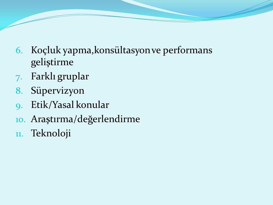 6. Koçluk yapma,konsültasyon ve performans geliştirme 7. Farklı gruplar 8. Süpervizyon 9. Etik/Yasal konular 10. Araştırma/değerlendirme 11. Teknoloji
