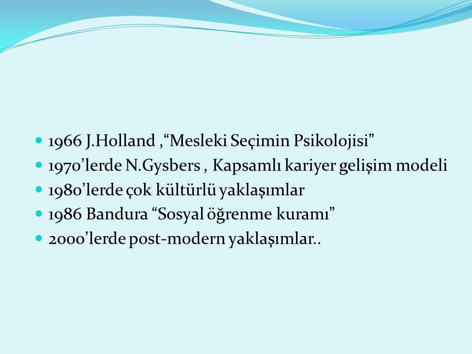 """1966 J.Holland,""""Mesleki Seçimin Psikolojisi"""" 1970'lerde N.Gysbers, Kapsamlı kariyer gelişim modeli 1980'lerde çok kültürlü yaklaşımlar 1986 Bandura """"S"""