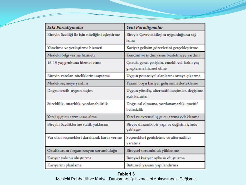 Tablo 1.3 Mesleki Rehberlik ve Kariyer Danışmanlığı Hizmetleri Anlayışındaki Değişme