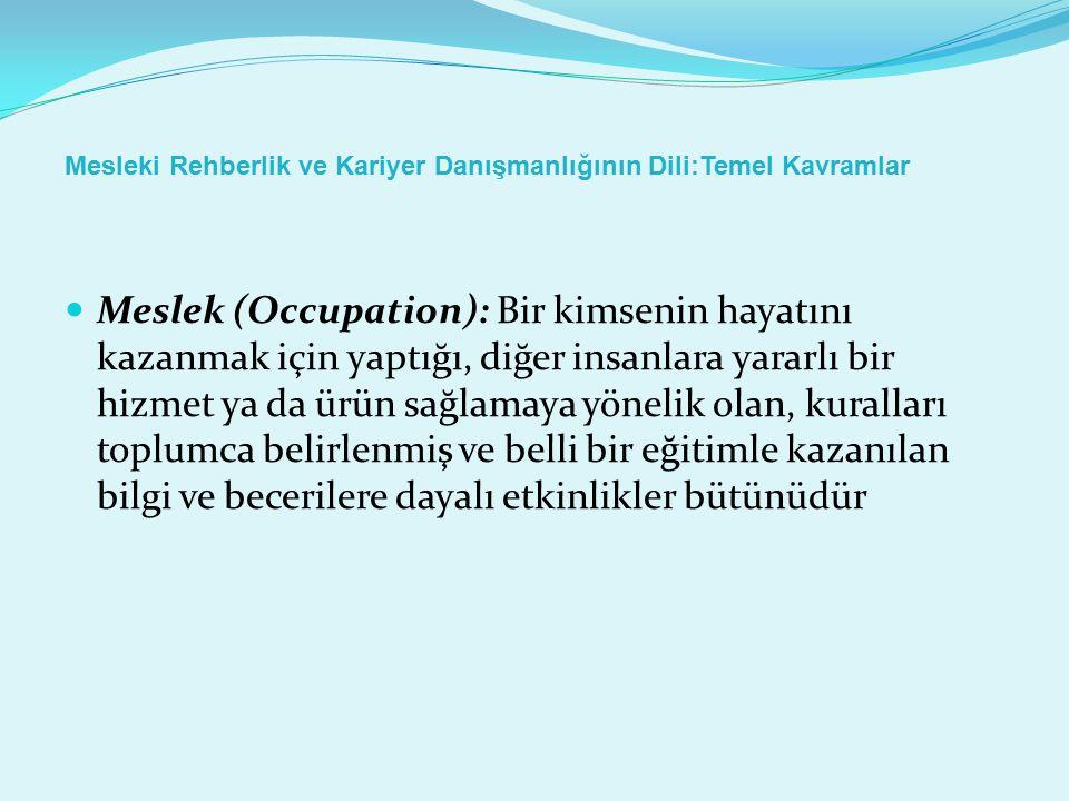 Mesleki Rehberlik ve Kariyer Danışmanlığının Dili:Temel Kavramlar Meslek (Occupation): Bir kimsenin hayatını kazanmak için yaptığı, diğer insanlara ya