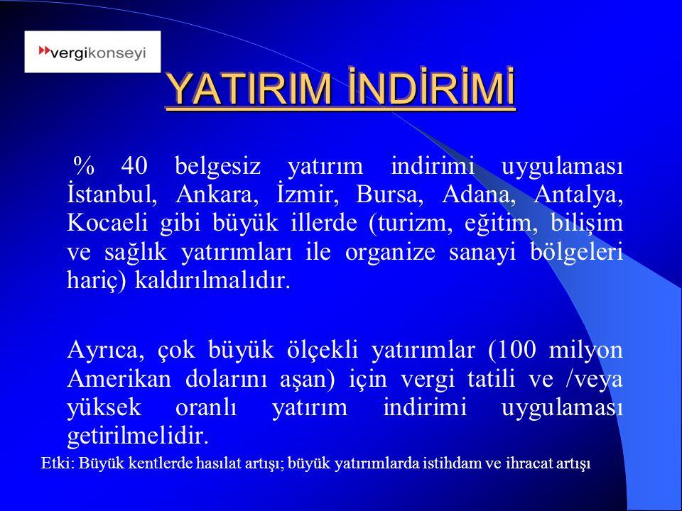 YATIRIM İNDİRİMİ % 40 belgesiz yatırım indirimi uygulaması İstanbul, Ankara, İzmir, Bursa, Adana, Antalya, Kocaeli gibi büyük illerde (turizm, eğitim,