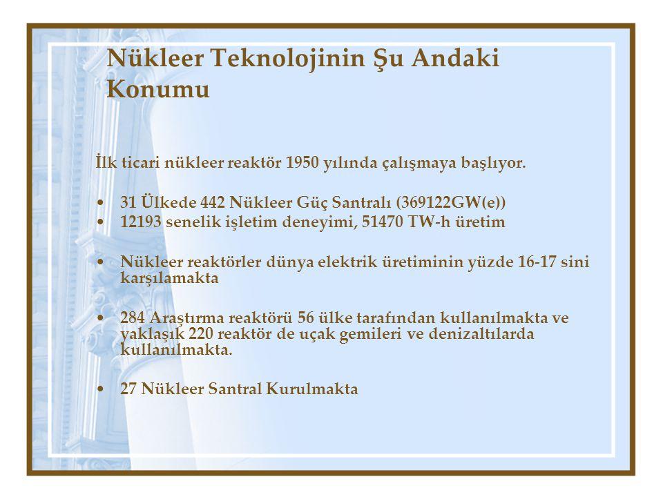 İlk ticari nükleer reaktör 1950 yılında çalışmaya başlıyor. 31 Ülkede 442 Nükleer Güç Santralı (369122GW(e)) 12193 senelik işletim deneyimi, 51470 TW-