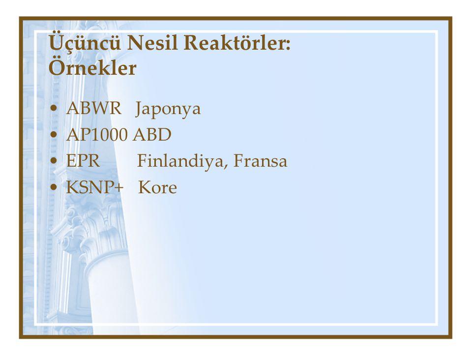 Üçüncü Nesil Reaktörler: Örnekler ABWR Japonya AP1000 ABD EPR Finlandiya, Fransa KSNP+ Kore