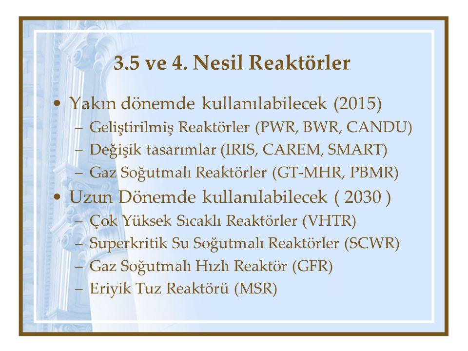 3.5 ve 4. Nesil Reaktörler Yakın dönemde kullanılabilecek (2015) –Geliştirilmiş Reaktörler (PWR, BWR, CANDU) –Değişik tasarımlar (IRIS, CAREM, SMART)