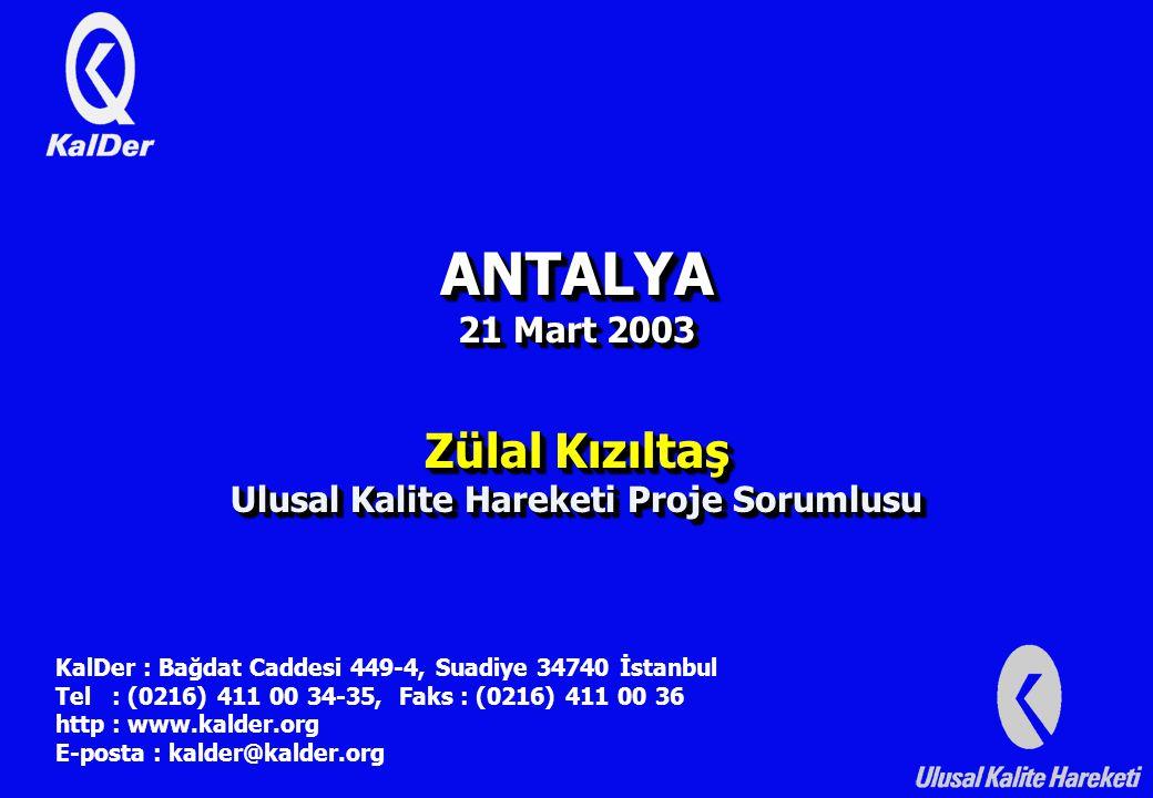 ANTALYA 21 Mart 2003 Zülal Kızıltaş Ulusal Kalite Hareketi Proje Sorumlusu KalDer : Bağdat Caddesi 449-4, Suadiye 34740 İstanbul Tel : (0216) 411 00 34-35, Faks : (0216) 411 00 36 http : www.kalder.org E-posta : kalder@kalder.org