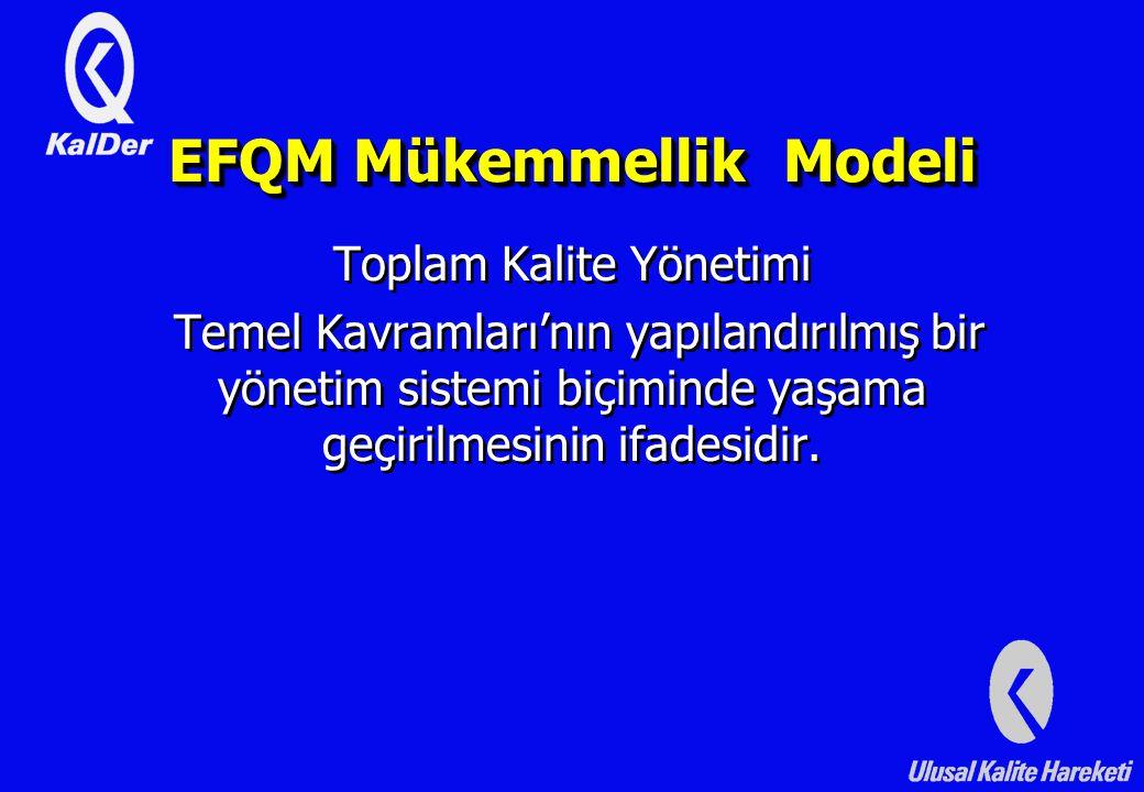 EFQM Mükemmellik Modeli Toplam Kalite Yönetimi Temel Kavramları'nın yapılandırılmış bir yönetim sistemi biçiminde yaşama geçirilmesinin ifadesidir.