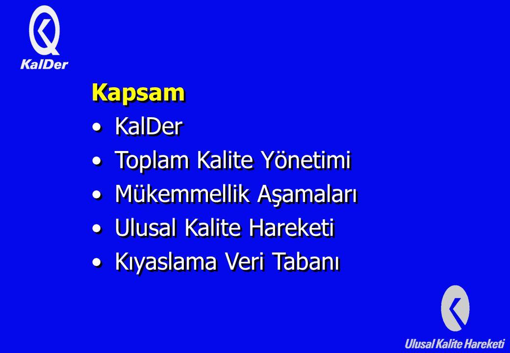 Kapsam KalDer Toplam Kalite Yönetimi Mükemmellik Aşamaları Ulusal Kalite Hareketi Kıyaslama Veri Tabanı Kapsam KalDer Toplam Kalite Yönetimi Mükemmellik Aşamaları Ulusal Kalite Hareketi Kıyaslama Veri Tabanı