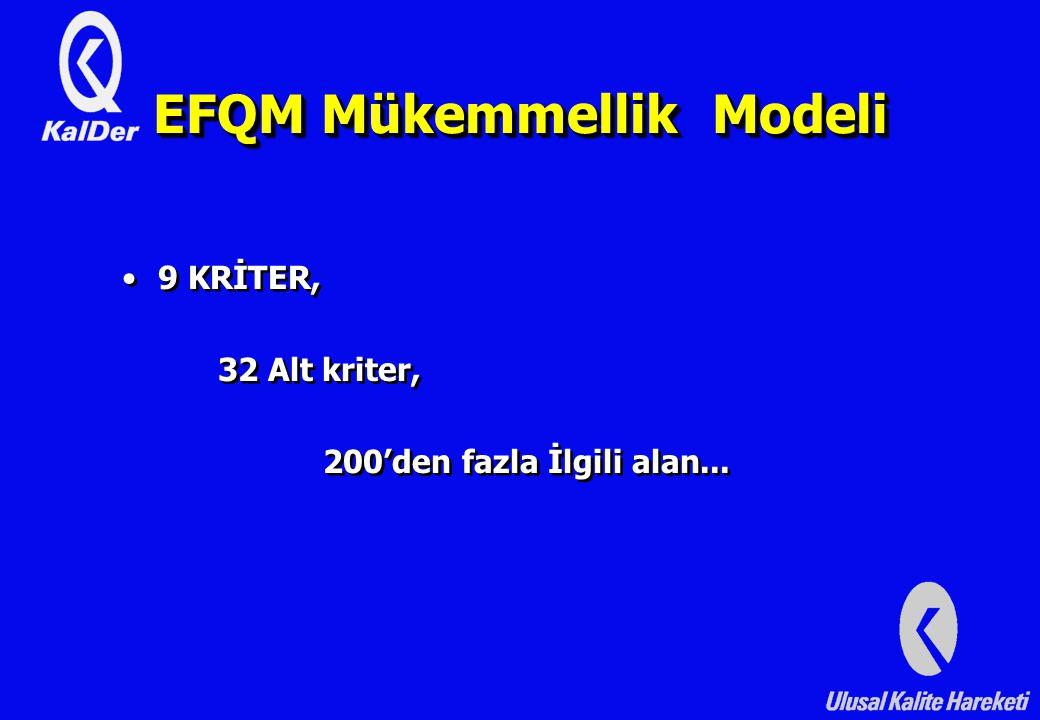EFQM Mükemmellik Modeli 9 KRİTER, 32 Alt kriter, 200'den fazla İlgili alan...