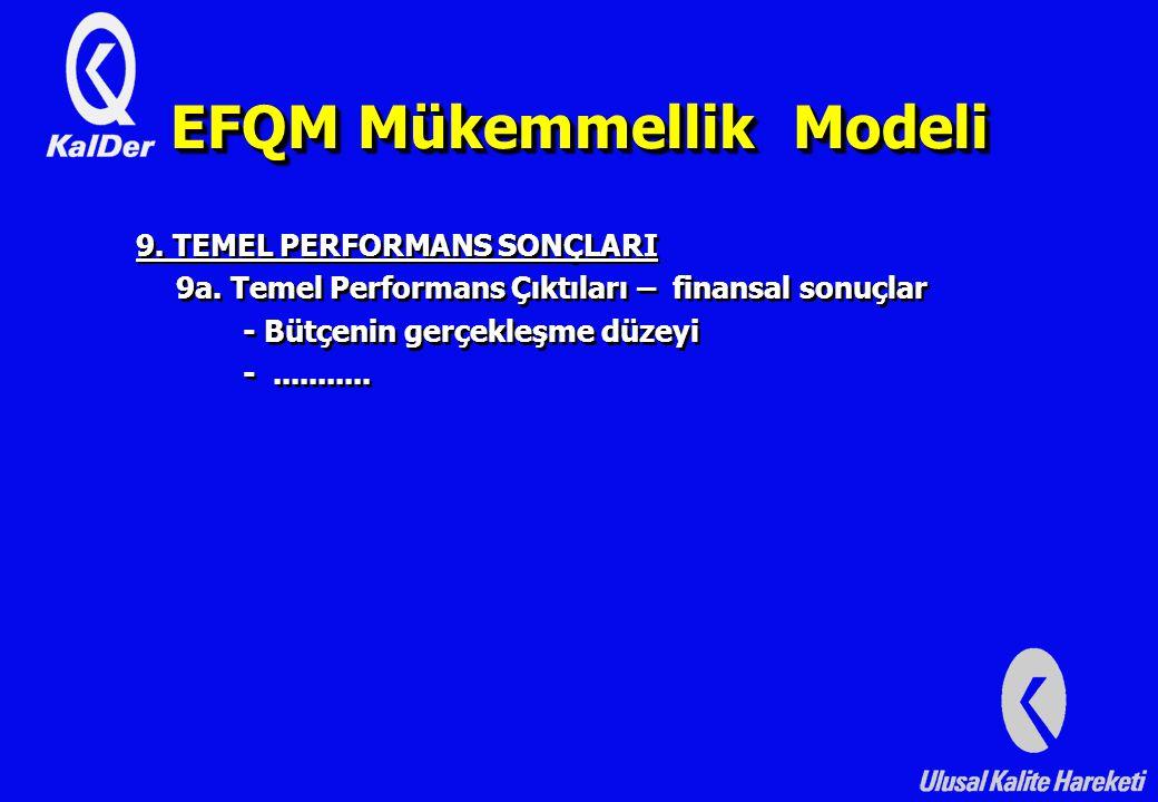 EFQM Mükemmellik Modeli 9.TEMEL PERFORMANS SONÇLARI 9a.