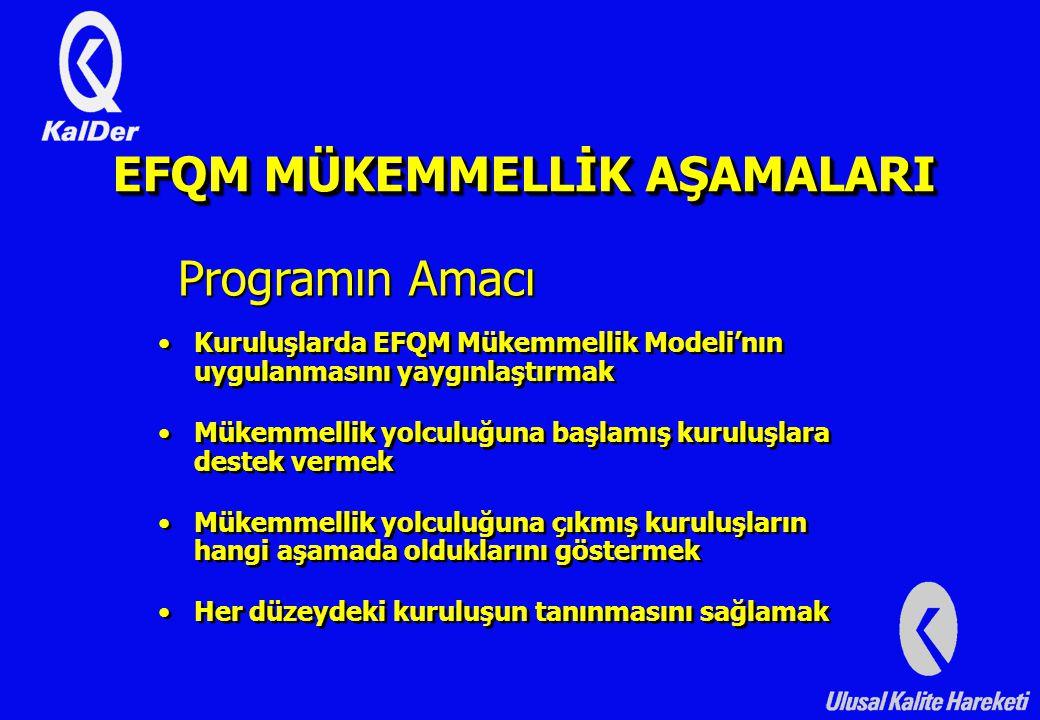 Kuruluşlarda EFQM Mükemmellik Modeli'nın uygulanmasını yaygınlaştırmak Mükemmellik yolculuğuna başlamış kuruluşlara destek vermek Mükemmellik yolculuğuna çıkmış kuruluşların hangi aşamada olduklarını göstermek Her düzeydeki kuruluşun tanınmasını sağlamak Kuruluşlarda EFQM Mükemmellik Modeli'nın uygulanmasını yaygınlaştırmak Mükemmellik yolculuğuna başlamış kuruluşlara destek vermek Mükemmellik yolculuğuna çıkmış kuruluşların hangi aşamada olduklarını göstermek Her düzeydeki kuruluşun tanınmasını sağlamak Programın Amacı