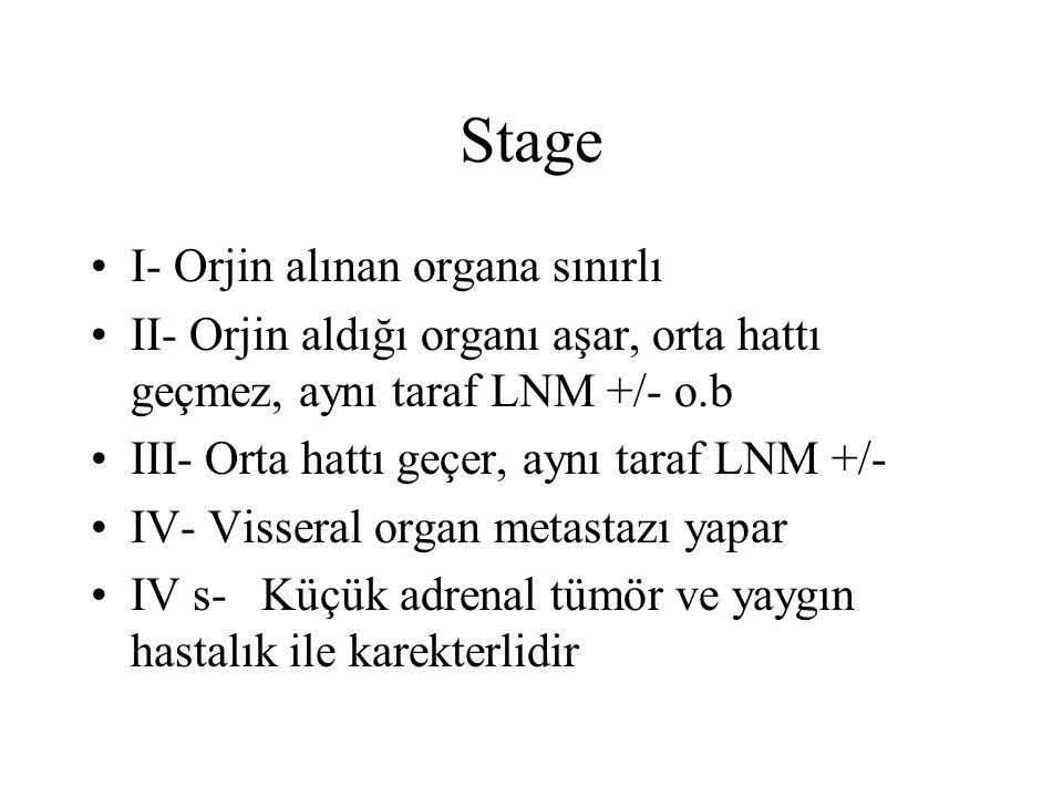 Stage I- Orjin alınan organa sınırlı II- Orjin aldığı organı aşar, orta hattı geçmez, aynı taraf LNM +/- o.b III- Orta hattı geçer, aynı taraf LNM +/-