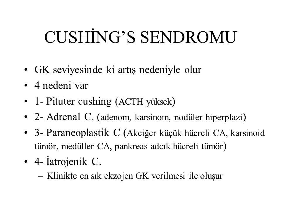 CUSHİNG'S SENDROMU GK seviyesinde ki artış nedeniyle olur 4 nedeni var 1- Pituter cushing ( ACTH yüksek ) 2- Adrenal C. ( adenom, karsinom, nodüler hi