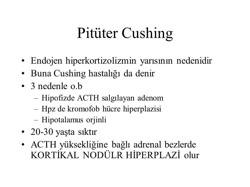 Pitüter Cushing Endojen hiperkortizolizmin yarısının nedenidir Buna Cushing hastalığı da denir 3 nedenle o.b –Hipofizde ACTH salgılayan adenom –Hpz de