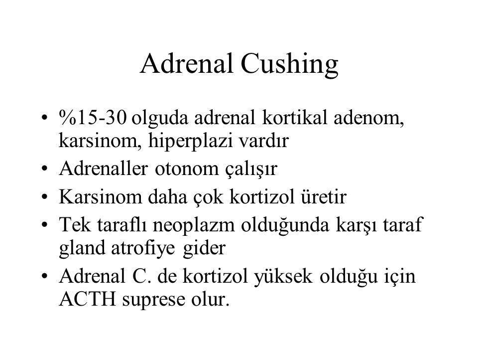 Adrenal Cushing %15-30 olguda adrenal kortikal adenom, karsinom, hiperplazi vardır Adrenaller otonom çalışır Karsinom daha çok kortizol üretir Tek tar