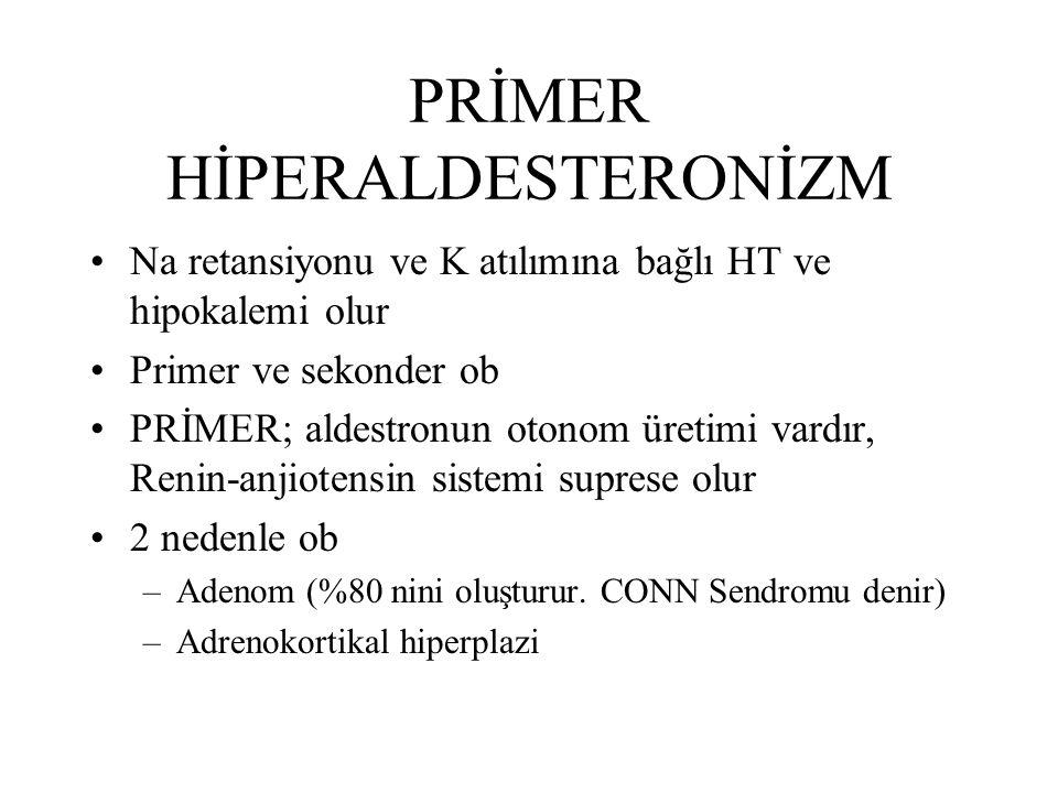 PRİMER HİPERALDESTERONİZM Na retansiyonu ve K atılımına bağlı HT ve hipokalemi olur Primer ve sekonder ob PRİMER; aldestronun otonom üretimi vardır, R