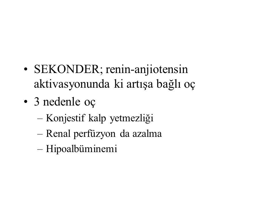 SEKONDER; renin-anjiotensin aktivasyonunda ki artışa bağlı oç 3 nedenle oç –Konjestif kalp yetmezliği –Renal perfüzyon da azalma –Hipoalbüminemi