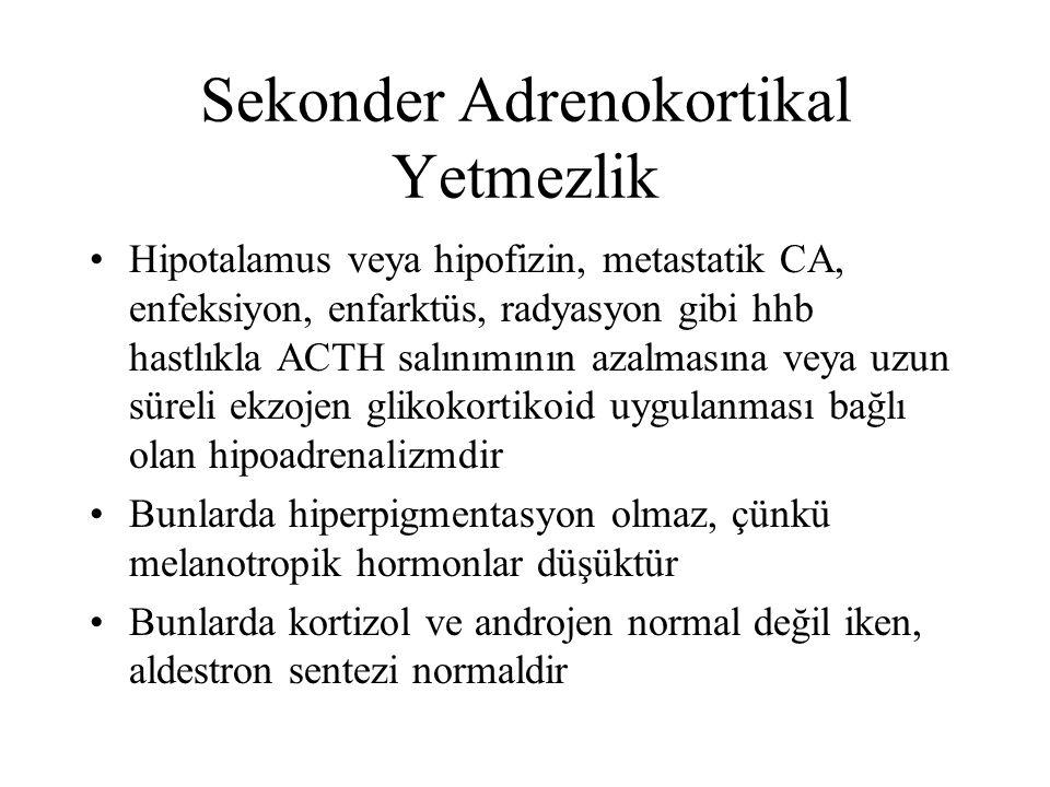 Sekonder Adrenokortikal Yetmezlik Hipotalamus veya hipofizin, metastatik CA, enfeksiyon, enfarktüs, radyasyon gibi hhb hastlıkla ACTH salınımının azal