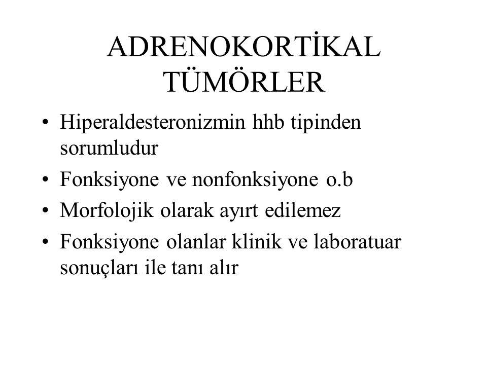 ADRENOKORTİKAL TÜMÖRLER Hiperaldesteronizmin hhb tipinden sorumludur Fonksiyone ve nonfonksiyone o.b Morfolojik olarak ayırt edilemez Fonksiyone olanl