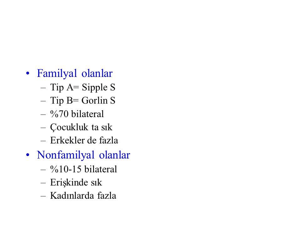 Familyal olanlar –Tip A= Sipple S –Tip B= Gorlin S –%70 bilateral –Çocukluk ta sık –Erkekler de fazla Nonfamilyal olanlar –%10-15 bilateral –Erişkinde