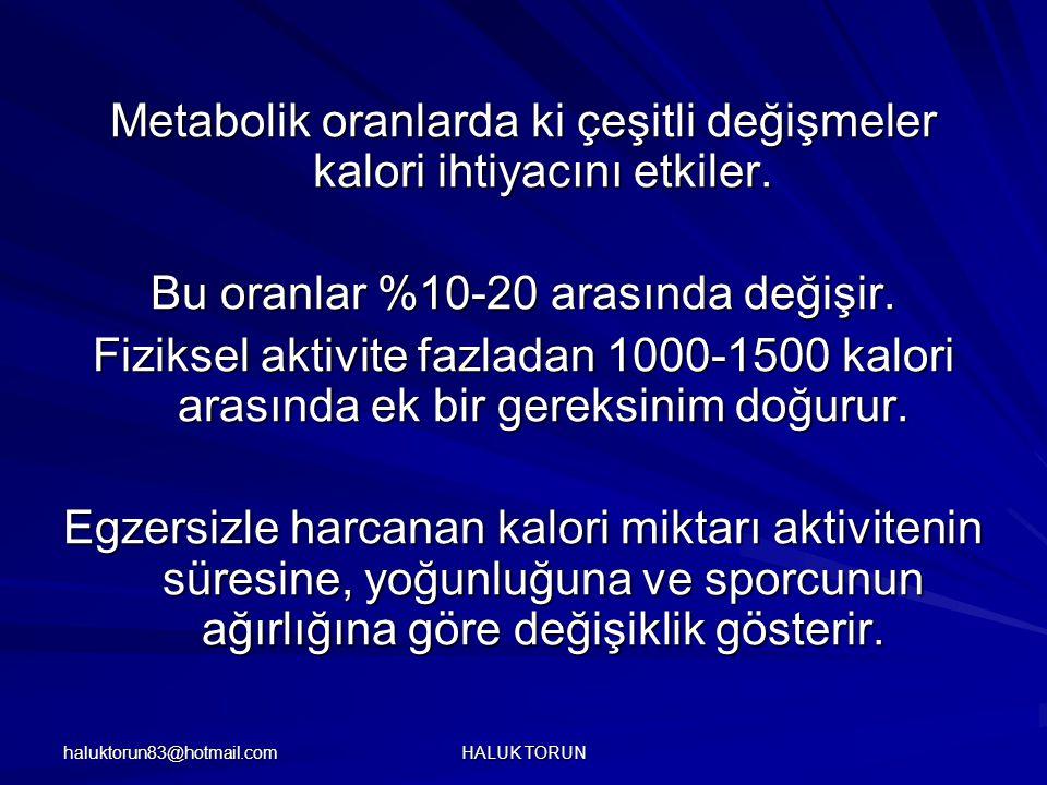haluktorun83@hotmail.com HALUK TORUN Metabolik oranlarda ki çeşitli değişmeler kalori ihtiyacını etkiler. Bu oranlar %10-20 arasında değişir. Fiziksel