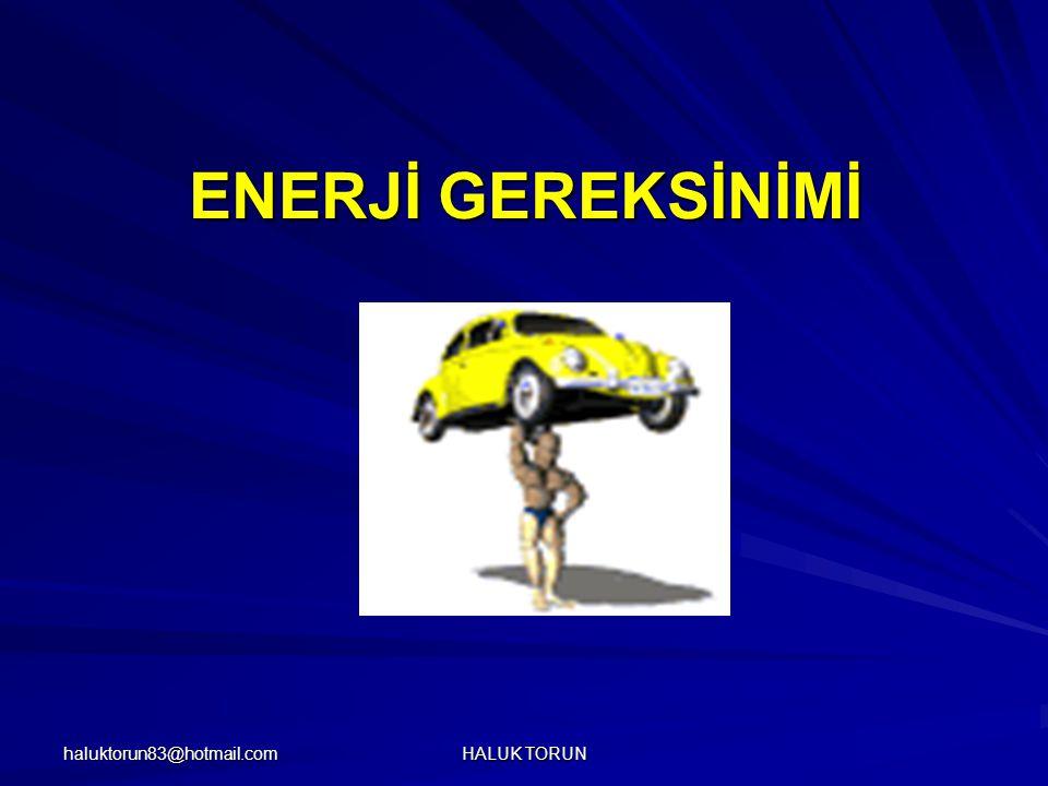 haluktorun83@hotmail.com HALUK TORUN ENERJİ GEREKSİNİMİ