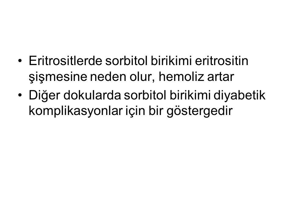Eritrositlerde sorbitol birikimi eritrositin şişmesine neden olur, hemoliz artar Diğer dokularda sorbitol birikimi diyabetik komplikasyonlar için bir