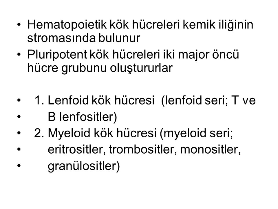 Hematopoietik kök hücreleri kemik iliğinin stromasında bulunur Pluripotent kök hücreleri iki major öncü hücre grubunu oluştururlar 1. Lenfoid kök hücr