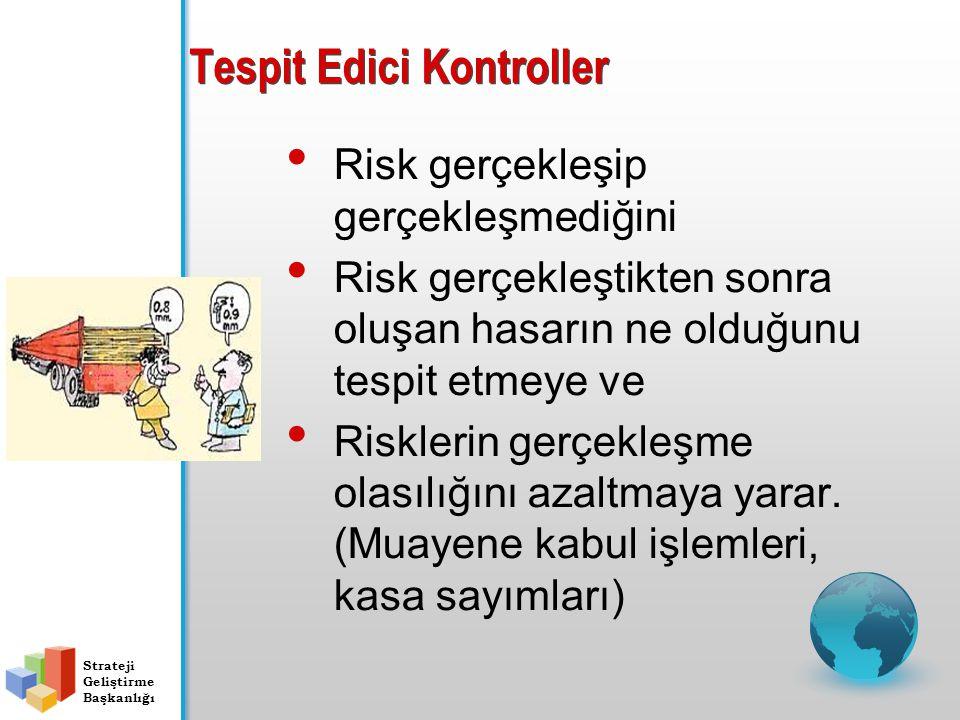 Tespit Edici Kontroller Risk gerçekleşip gerçekleşmediğini Risk gerçekleştikten sonra oluşan hasarın ne olduğunu tespit etmeye ve Risklerin gerçekleşme olasılığını azaltmaya yarar.