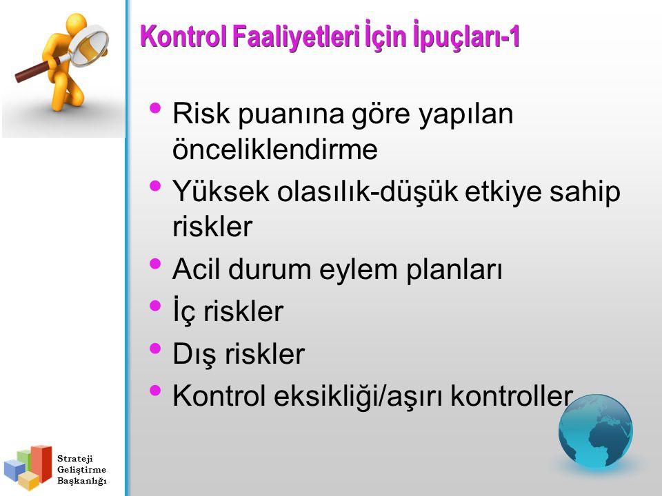 Kontrol Faaliyetleri İçin İpuçları-1 Risk puanına göre yapılan önceliklendirme Yüksek olasılık-düşük etkiye sahip riskler Acil durum eylem planları İç riskler Dış riskler Kontrol eksikliği/aşırı kontroller Strateji Geliştirme Başkanlığı