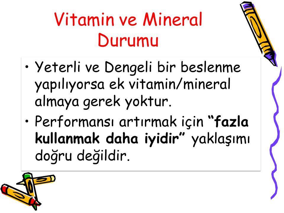 """Vitamin ve Mineral Durumu Yeterli ve Dengeli bir beslenme yapılıyorsa ek vitamin/mineral almaya gerek yoktur. Performansı artırmak için """"fazla kullanm"""