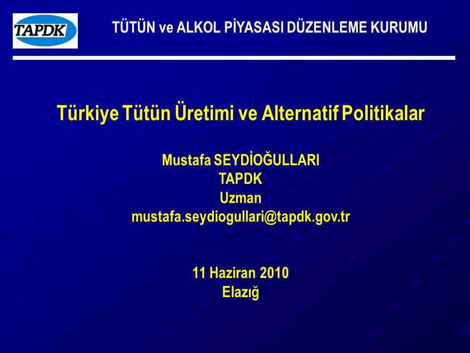 TÜTÜN ve ALKOL PİYASASI DÜZENLEME KURUMU Türkiye Tütün Üretimi ve Alternatif Politikalar Mustafa SEYDİOĞULLARI TAPDK Uzman mustafa.seydiogullari@tapdk.gov.tr 11 Haziran 2010 Elazığ