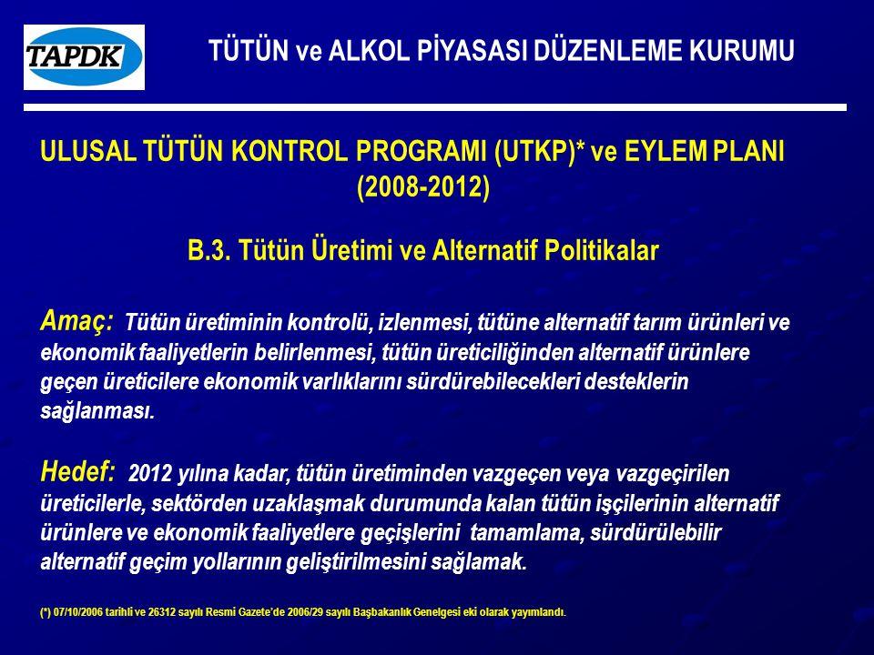 TÜTÜN ve ALKOL PİYASASI DÜZENLEME KURUMU ULUSAL TÜTÜN KONTROL PROGRAMI (UTKP)* ve EYLEM PLANI (2008-2012) B.3.