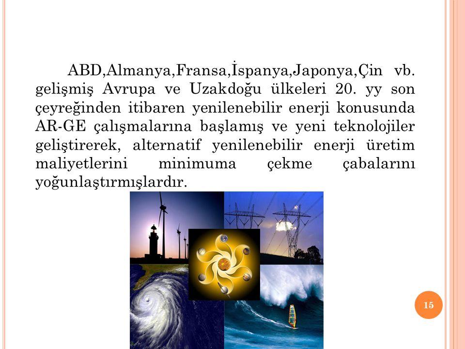 ABD,Almanya,Fransa,İspanya,Japonya,Çin vb. gelişmiş Avrupa ve Uzakdoğu ülkeleri 20. yy son çeyreğinden itibaren yenilenebilir enerji konusunda AR-GE ç