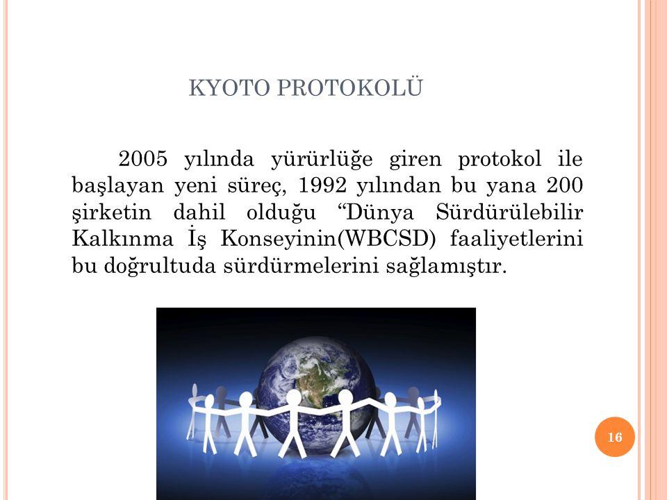"""KYOTO PROTOKOLÜ 2005 yılında yürürlüğe giren protokol ile başlayan yeni süreç, 1992 yılından bu yana 200 şirketin dahil olduğu """"Dünya Sürdürülebilir K"""