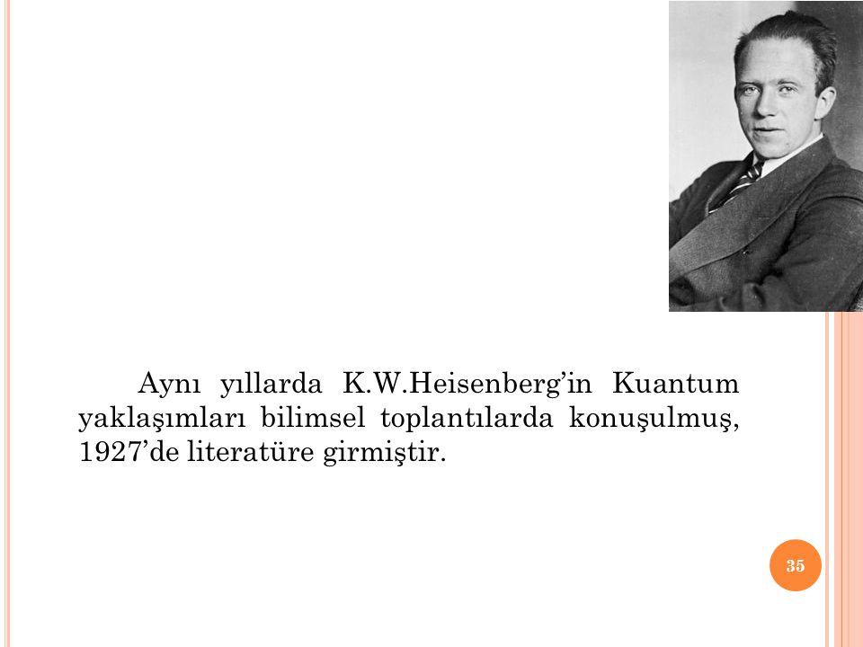 Aynı yıllarda K.W.Heisenberg'in Kuantum yaklaşımları bilimsel toplantılarda konuşulmuş, 1927'de literatüre girmiştir. 35