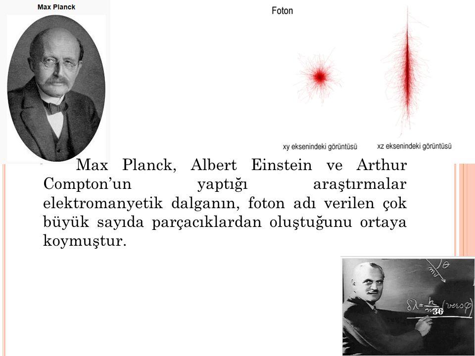 Max Planck, Albert Einstein ve Arthur Compton'un yaptığı araştırmalar elektromanyetik dalganın, foton adı verilen çok büyük sayıda parçacıklardan oluş