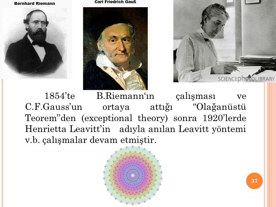 """1854'te B.Riemann'ın çalışması ve C.F.Gauss'un ortaya attığı """"Olağanüstü Teorem""""den (exceptional theory) sonra 1920'lerde Henrietta Leavitt'in adıyla"""