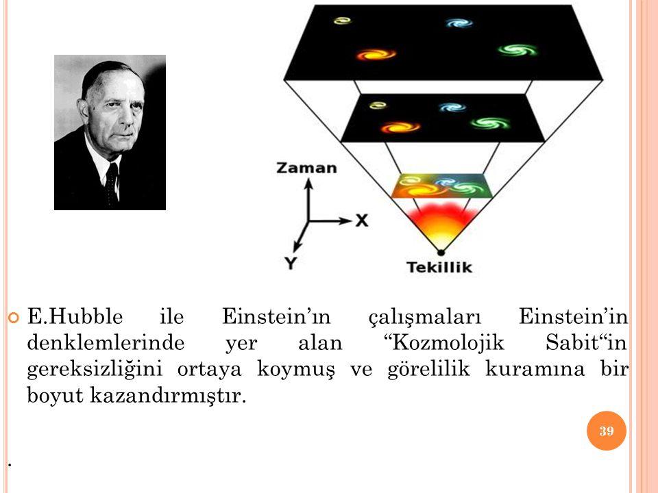 """E.Hubble ile Einstein'ın çalışmaları Einstein'in denklemlerinde yer alan """"Kozmolojik Sabit""""in gereksizliğini ortaya koymuş ve görelilik kuramına bir b"""
