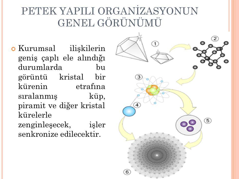PETEK YAPILI ORGANİZASYONUN GENEL GÖRÜNÜMÜ 64 Kurumsal ilişkilerin geniş çaplı ele alındığı durumlarda bu görüntü kristal bir kürenin etrafına sıralan