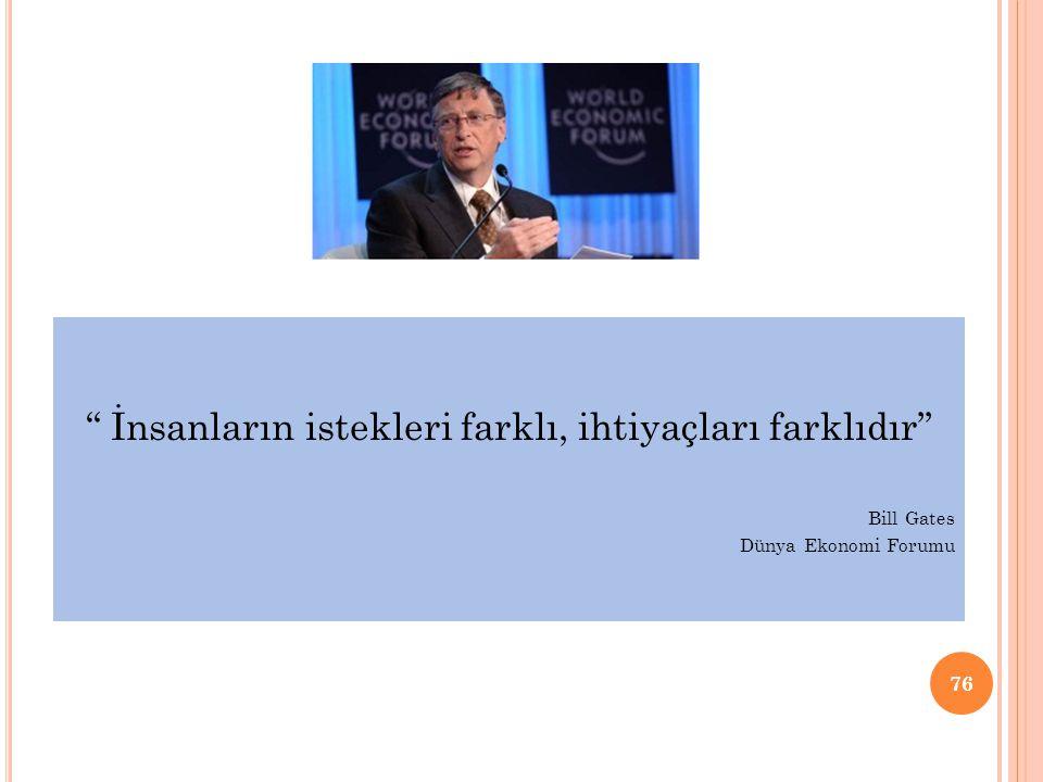 """"""" İnsanların istekleri farklı, ihtiyaçları farklıdır"""" Bill Gates Dünya Ekonomi Forumu 76"""