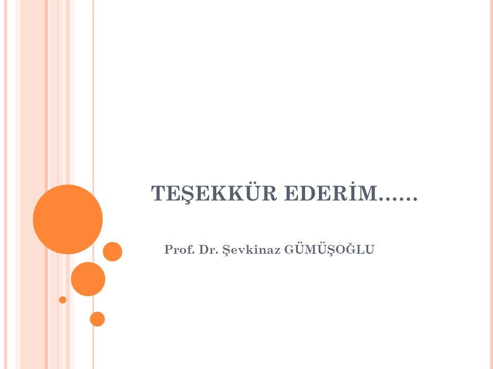TEŞEKKÜR EDERİM…… Prof. Dr. Şevkinaz GÜMÜŞOĞLU