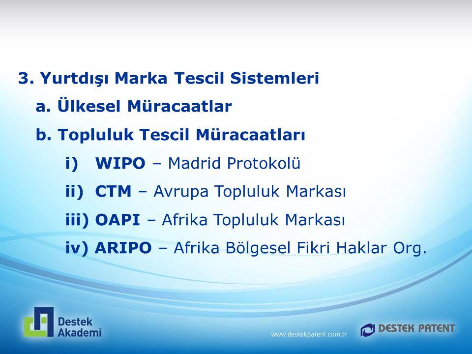 3. Yurtdışı Marka Tescil Sistemleri a. Ülkesel Müracaatlar b. Topluluk Tescil Müracaatları i) WIPO – Madrid Protokolü ii) CTM – Avrupa Topluluk Markas