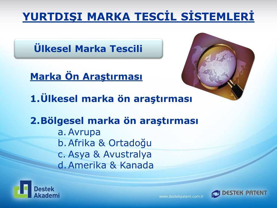 YURTDIŞI MARKA TESCİL SİSTEMLERİ Ülkesel Marka Tescili Marka Ön Araştırması 1.Ülkesel marka ön araştırması 2.Bölgesel marka ön araştırması a.Avrupa b.