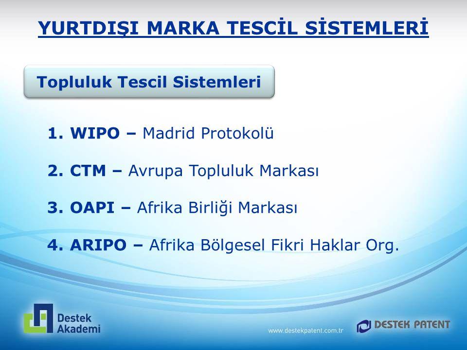 YURTDIŞI MARKA TESCİL SİSTEMLERİ Topluluk Tescil Sistemleri 1. WIPO – Madrid Protokolü 2. CTM – Avrupa Topluluk Markası 3. OAPI – Afrika Birliği Marka