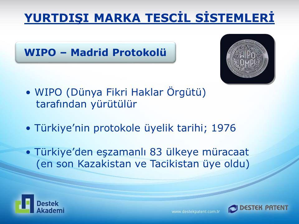 YURTDIŞI MARKA TESCİL SİSTEMLERİ WIPO – Madrid Protokolü WIPO (Dünya Fikri Haklar Örgütü) tarafından yürütülür Türkiye'nin protokole üyelik tarihi; 19