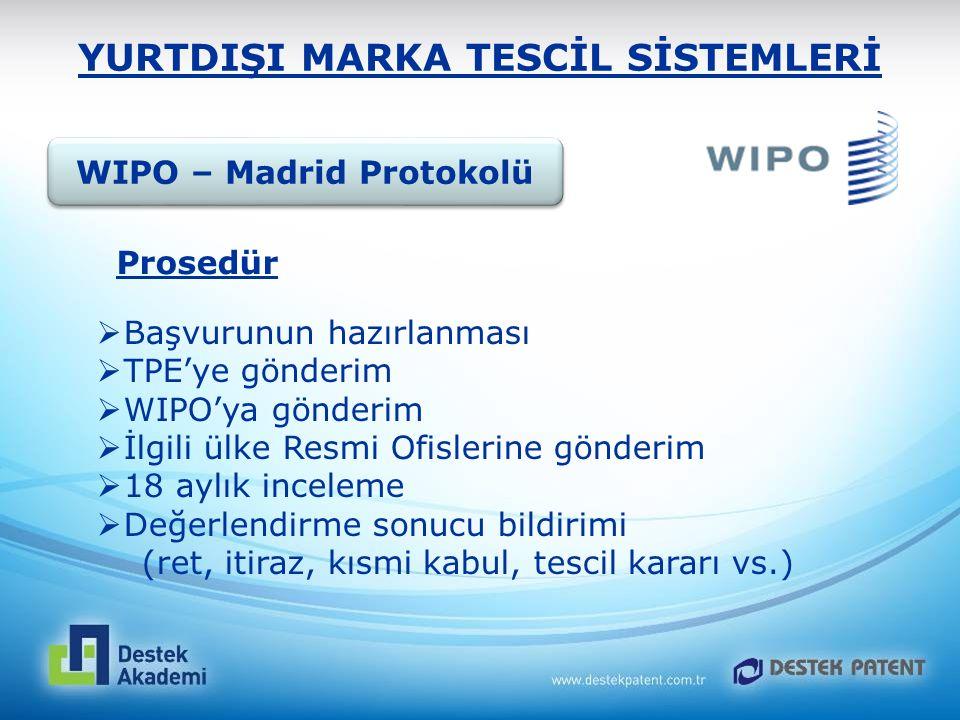 YURTDIŞI MARKA TESCİL SİSTEMLERİ  Başvurunun hazırlanması  TPE'ye gönderim  WIPO'ya gönderim  İlgili ülke Resmi Ofislerine gönderim  18 aylık inc