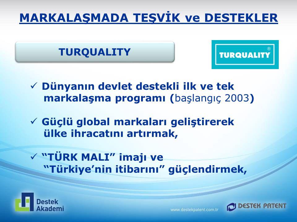 MARKALAŞMADA TEŞVİK ve DESTEKLER TURQUALITY Dünyanın devlet destekli ilk ve tek markalaşma programı (başlangıç 2003) Güçlü global markaları geliştirer
